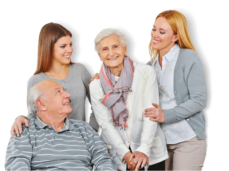 two woman, senior woman and man smiling