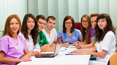 a medical team meeting in the hospital